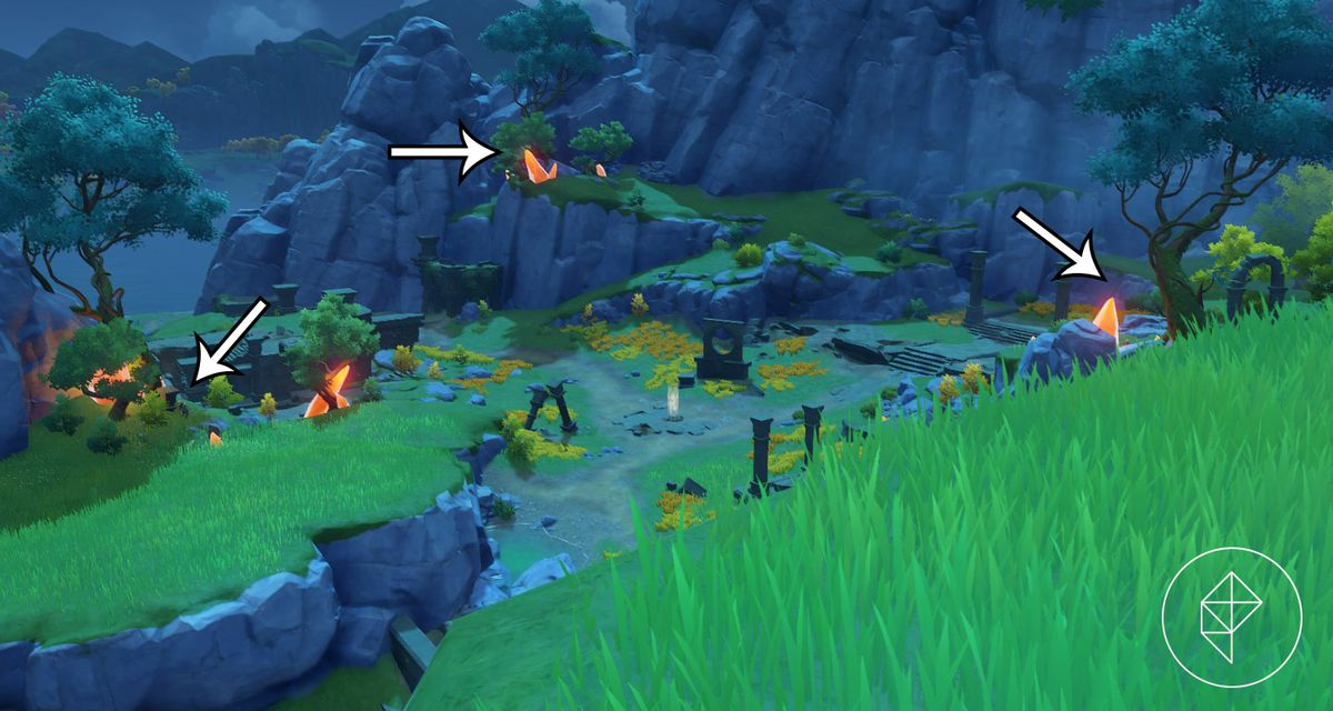 A grassy ruin with arrows pointing out the glowing orange amber beneath trees.