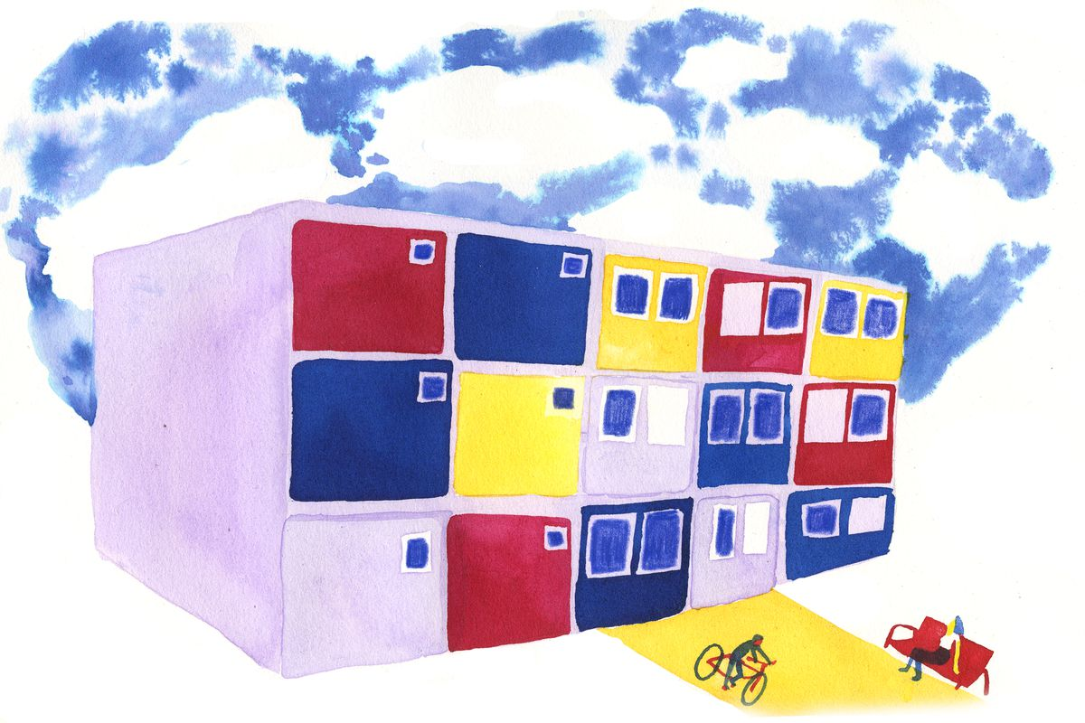 An illustration of an apartment building with red, yellow, and blue walls; a cyclist; a person sitting on a bench; and a blue sky with fluffy clouds.