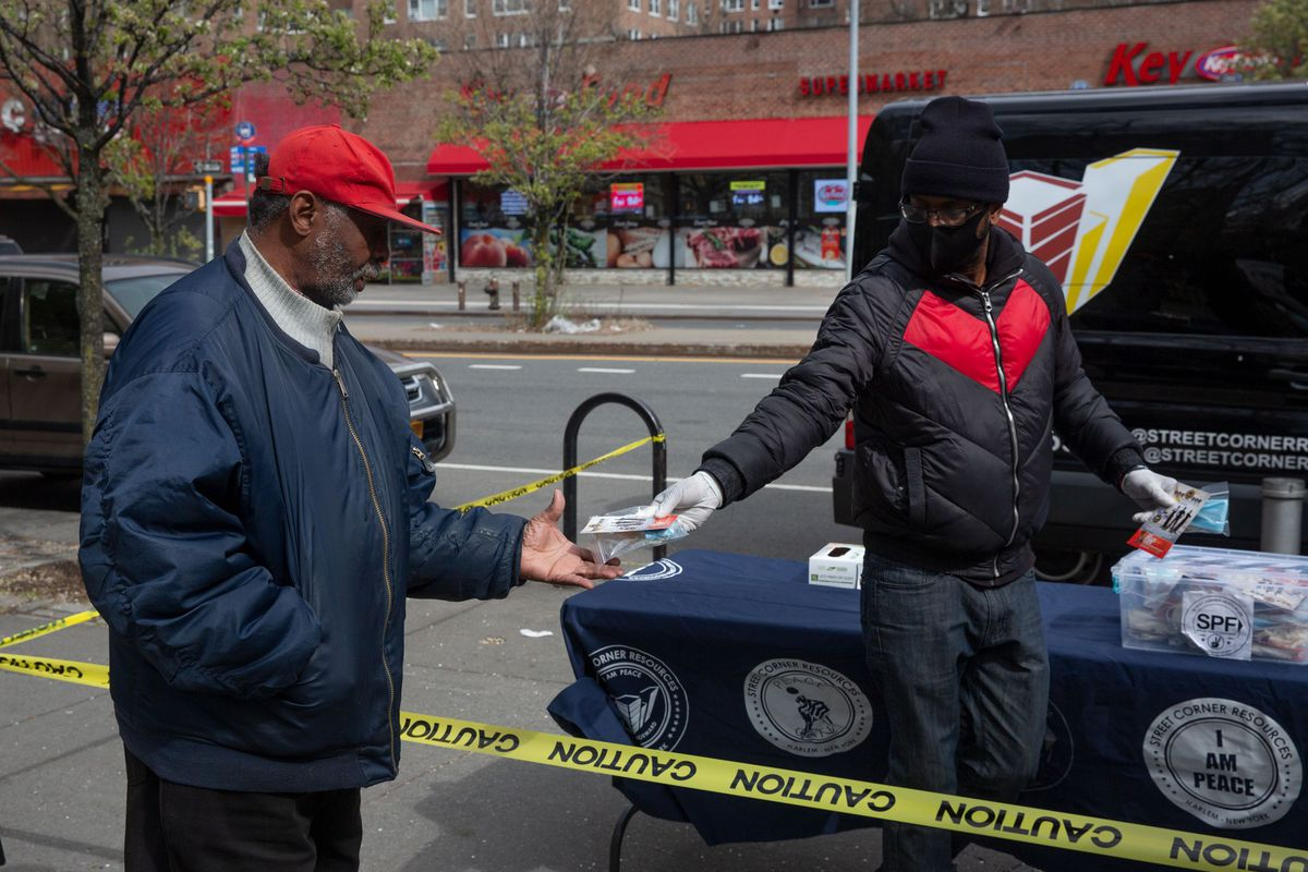 Anti-violence organization Street Corner Resources provides free masks and gloves in Harlem during the coronavirus outbreak.