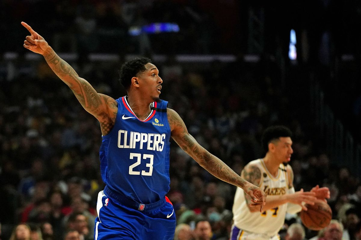 LA Clippers guard Lou Williams reacts against the Los Angeles Lakers in the first half at Staples Center.