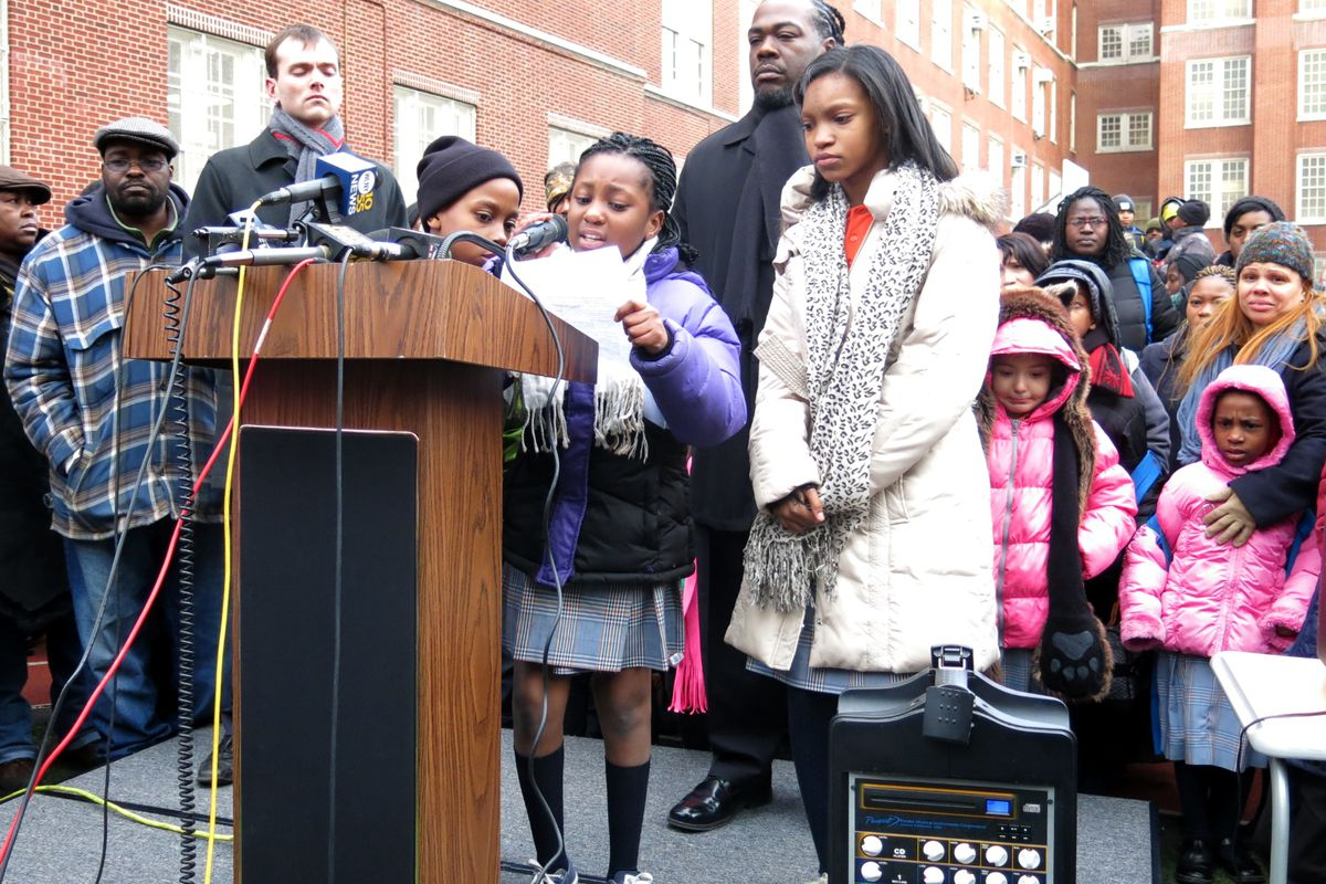 Success Academy students praised their schools and bemoaned the city's decision to cancel the co-locations during a press conference Thursday.