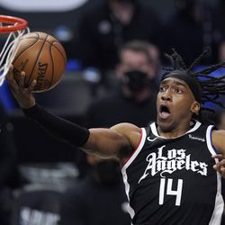Los Angeles Clippers guard Terance Mann shoots during the second half in Game 6 of a second-round NBA basketball playoff series against the Utah Jazz Friday, June 18, 2021, in Los Angeles.