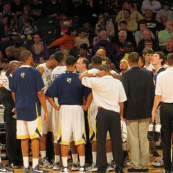 Tech Huddles Late in Second Half