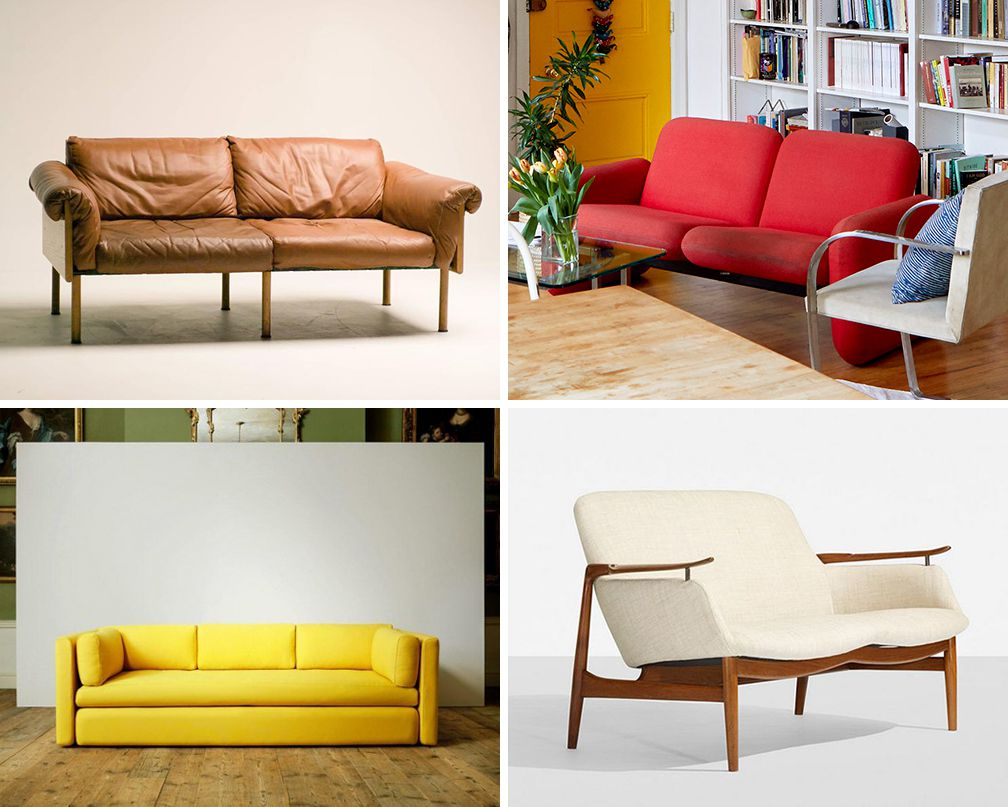 Four sofas, including one made of brown leather and the other three in a red, yellow, and creme fabric.