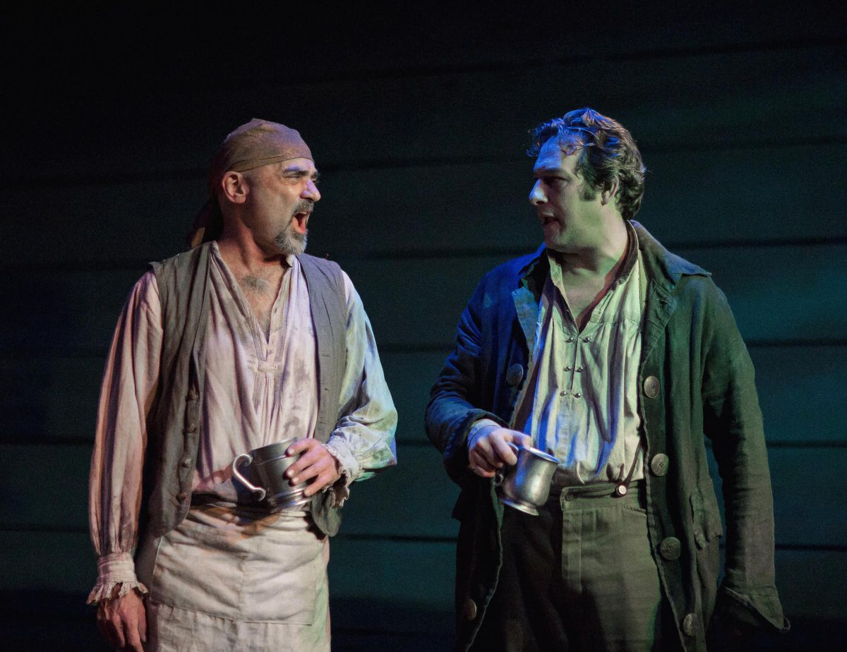 """Ron Quade plays Josiah Squibb and David Fehr is McGaffin in """"Rutherford's Travels,"""" a Pegasus Theatre Chicago world premiere. (Photo: Joe Mazza/Brave Lux)"""