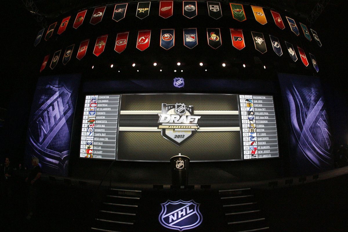 June 22, 2012; Pittsburgh, PA, USA; General view of the stage prior to the 2012 NHL Draft at CONSOL Energy Center.  Mandatory Credit: Charles LeClaire-US PRESSWIRE
