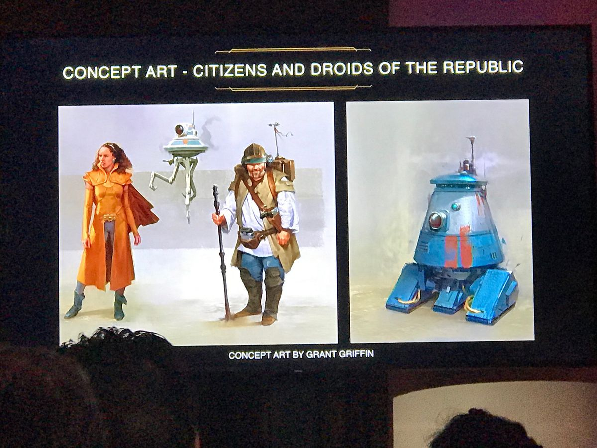 Star Wars: The High Republic concept art by Grant Griffin of citizens and droids of the Republic