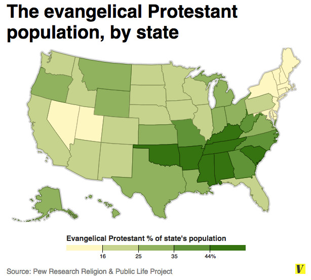 Map of evangelical protestants by state