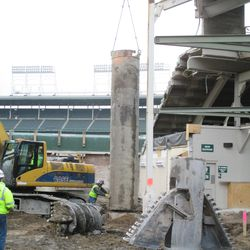 Tube being lowered in right-center field on Sheffield