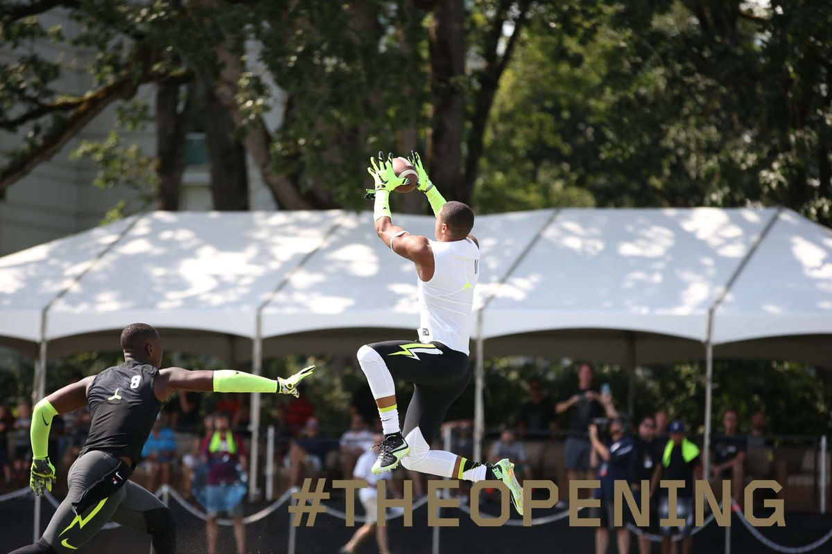 Florida early enrollee Freddie Swain skies for a catch at The Opening.