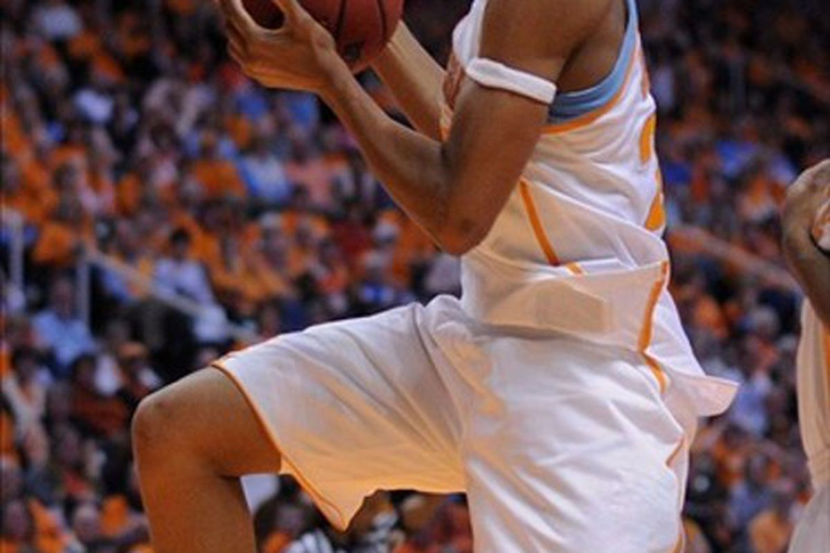 Feb 26, 2012; Knoxville, TN, USA; Tennessee Lady Volunteers forward Glory Johnson (25) grabs a rebound against the Florida Gators during the game at Thompson Boling Arena. Tennessee won 75 to 59. <em>Randy Sartin-US PRESSWIRE</em>