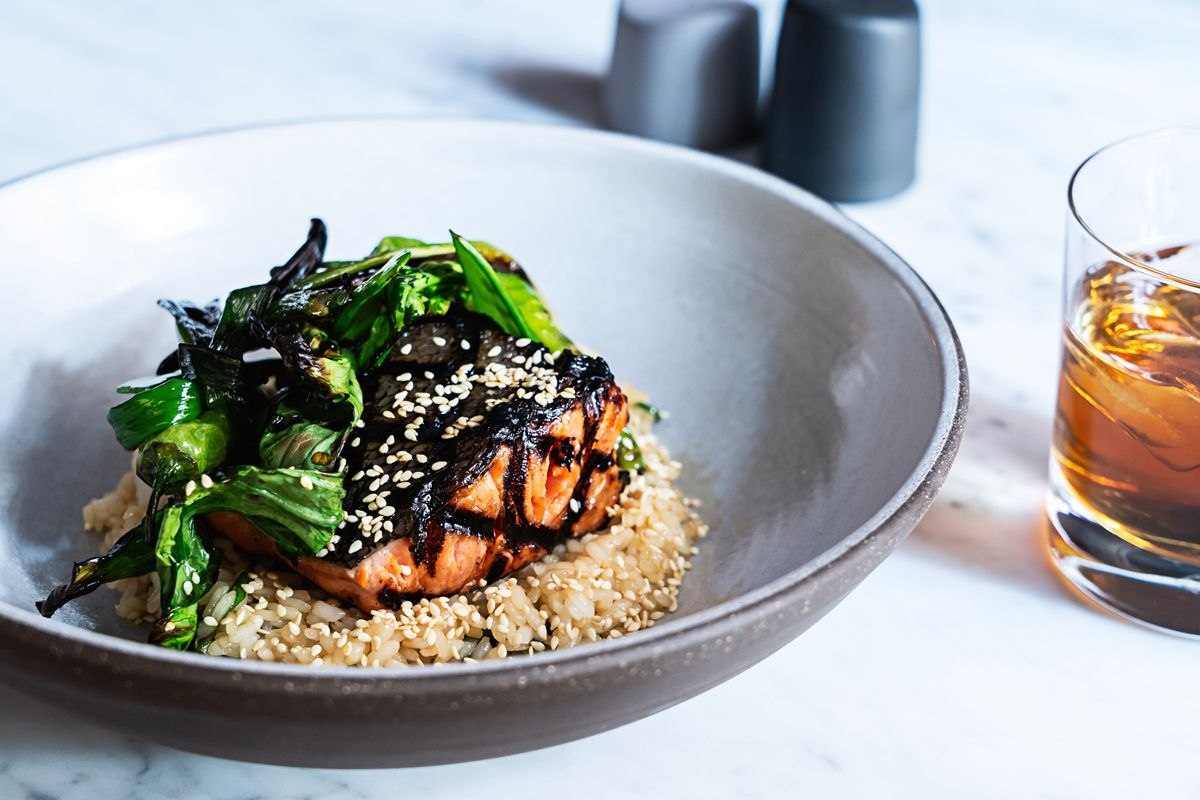 Grilled ginger-soy king salmon with bok choy and Calrose rice from Lyle's