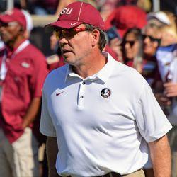 Head Coach Jimbo Fisher watches warm-ups.