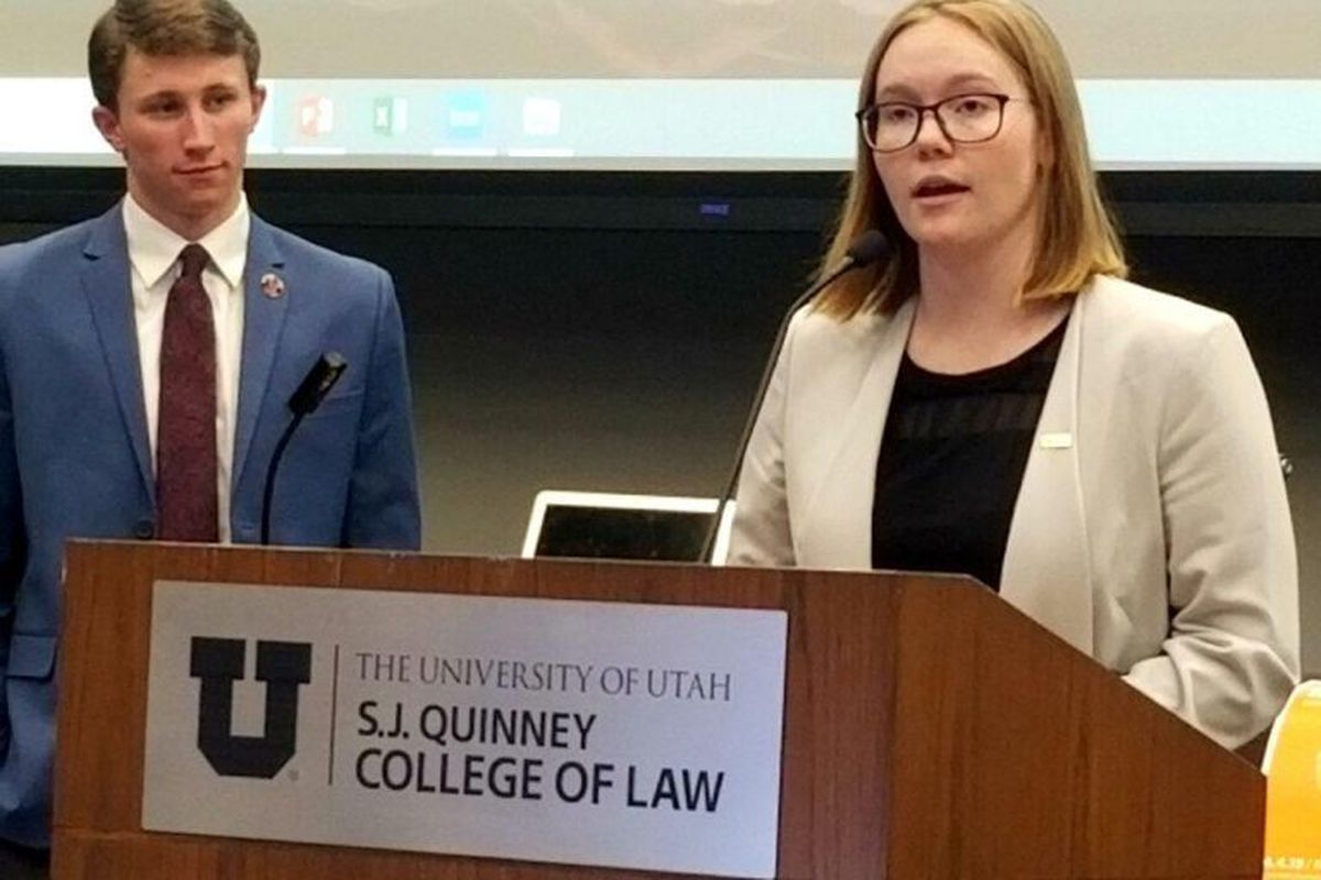 Former Associated Students of the University of Utah President Connor Morgan and ASUU Senate Chairwoman Kaitlin McLean, present proposed safety language for all course syllabuses to the U.'s Academic Senate in April 2019.