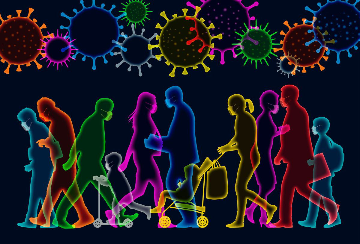 An illustration of people passing each other, as if at an airport, with masks on and germs hovering overhead.