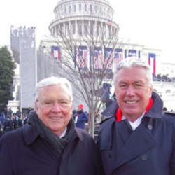 Elder M. Russell Ballard, left, and President Dieter F. Uchtdorf of The Church of Jesus Christ of Latter-day Saints pose while attending the 2009 Presidential Inauguration in Washington, D.C.