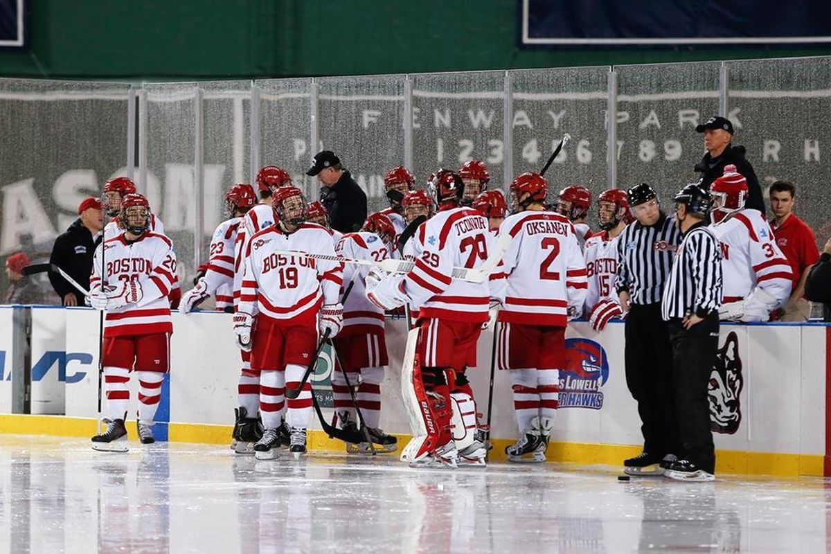 Boston University players pictured here during a timeout at Frozen Fenway on January 11, 2014.