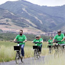 Summit County and Park City council members, along with other elected officials and local residents, ride from both the Old Town Transit Center and the Kimball Junction Transit Center to the McPolin Barn to launch the nation's first fully electric bike-share program in Park City on Wednesday, July 19, 2017.