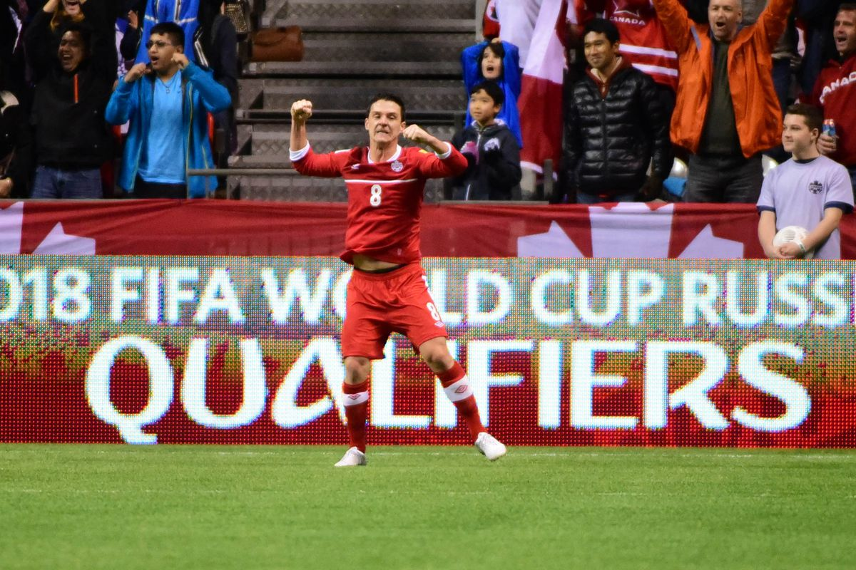 Canadian midfielder Will Johnson celebrates Canada's goal against Honduras at BC Place on Friday evening.  Canada won the match 1-0.