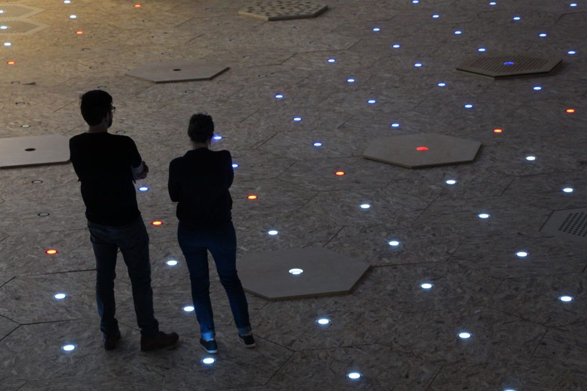 Hexagonal pieces of wood with glowing lights