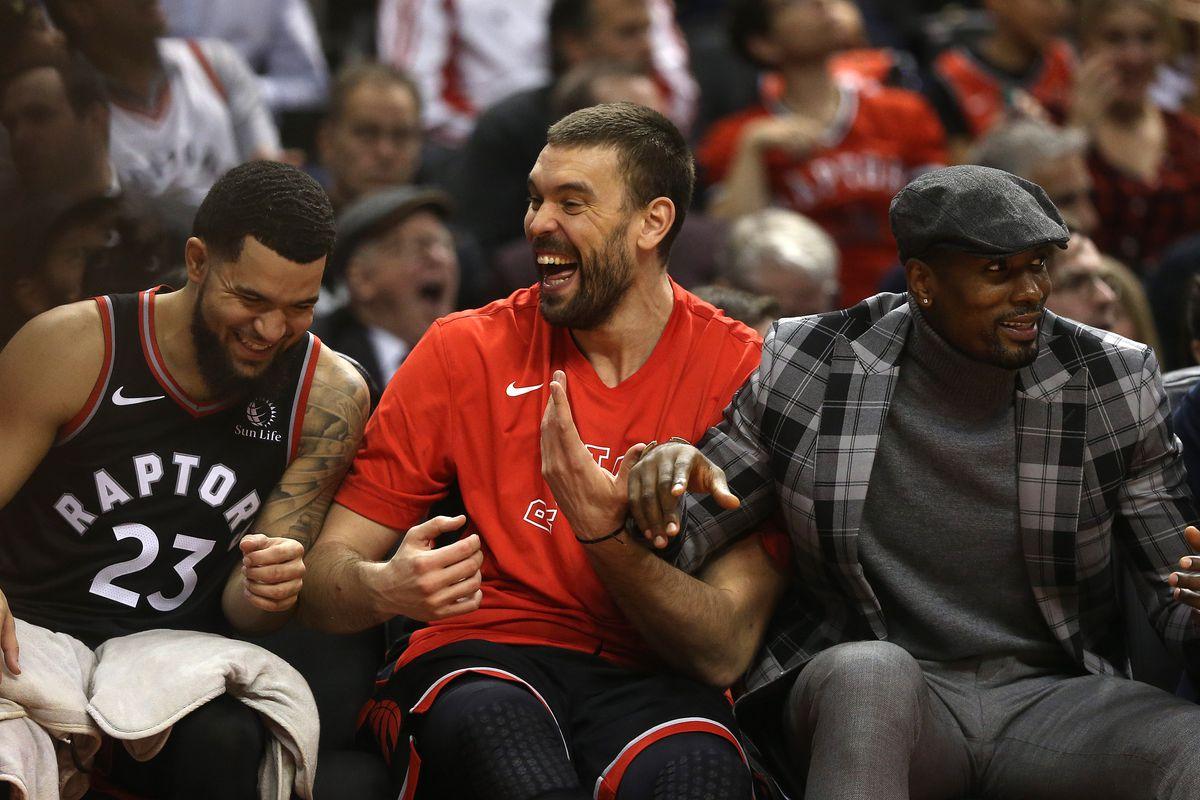 How much fun are these guys? Toronto Raptors Fred VanVleet, Marc Gasol, Serge Ibaka