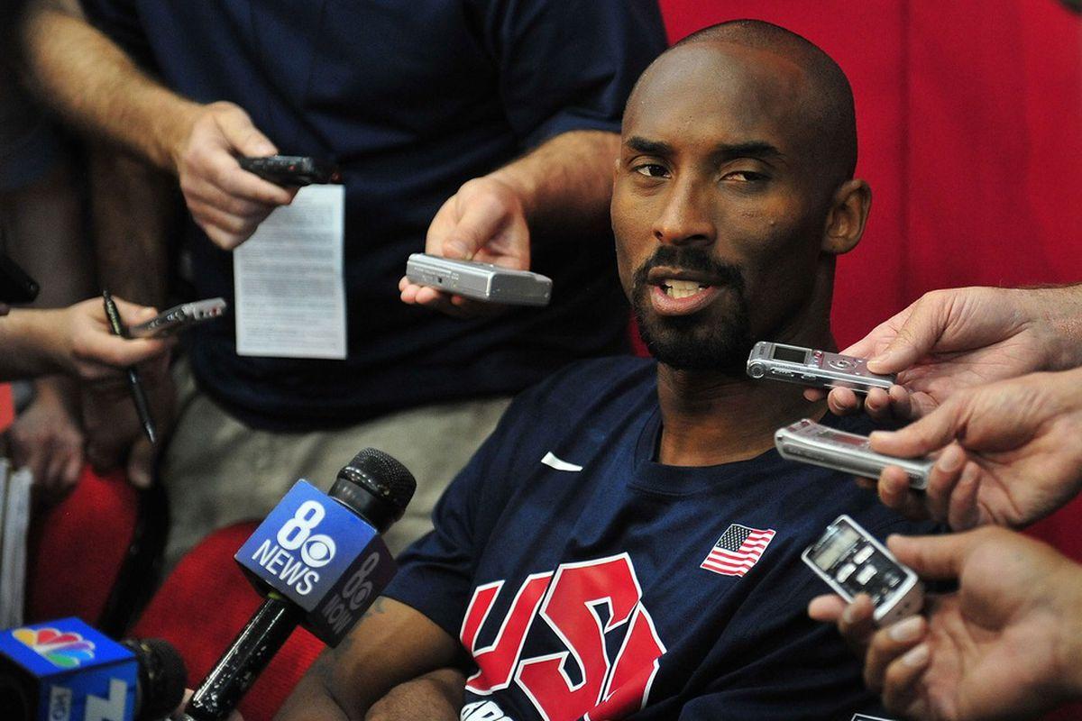 July 6, 2012; Las Vegas, NV, USA; Team USA guard Kobe Bryant speaks to media during practice at the UNLV Mendenhall Center. Mandatory Credit: Gary A. Vasquez-US PRESSWIRE