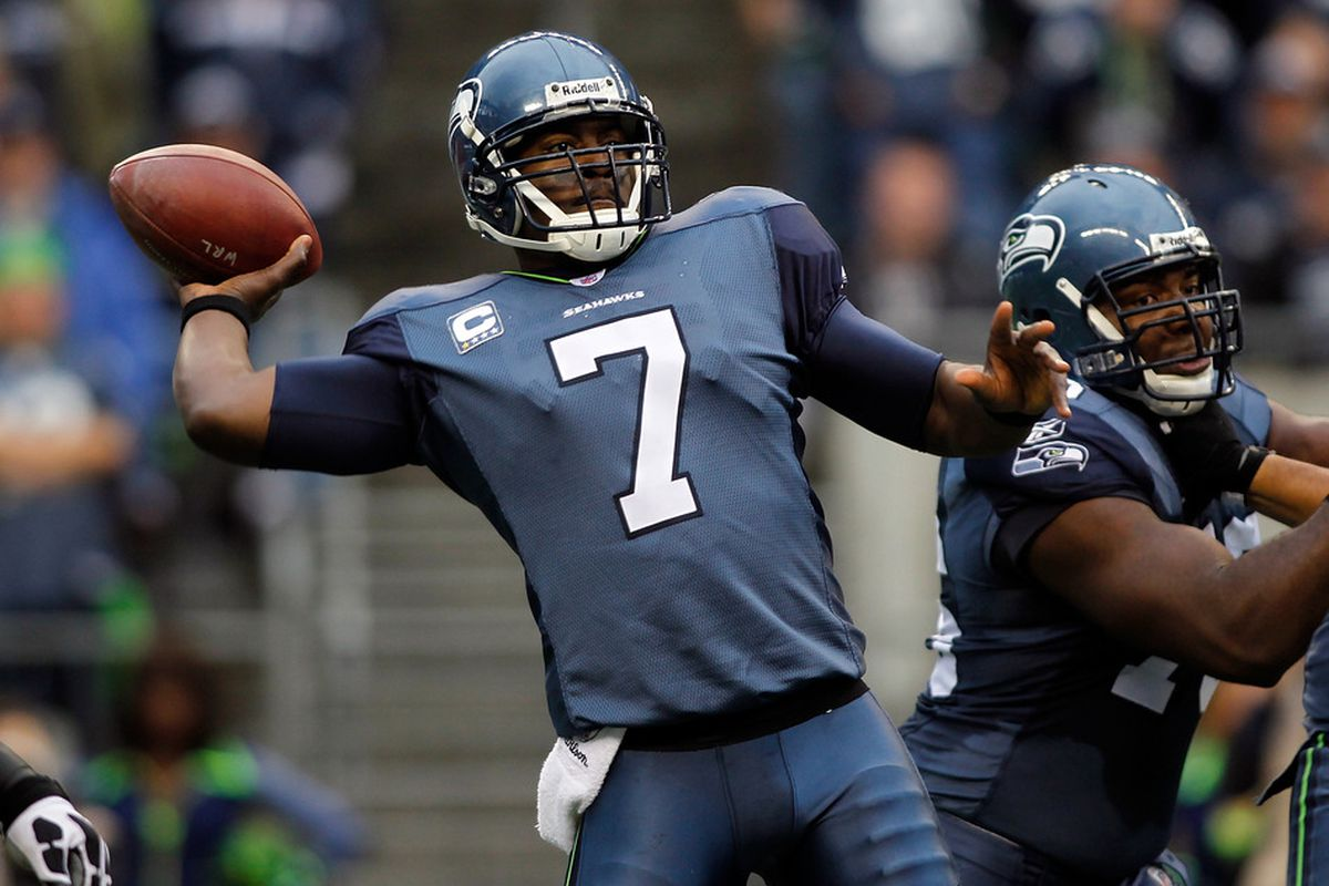 SEATTLE - OCTOBER 30:  Quarterback Tavaris Jackson #7 of the Seattle Seahawks throws a pass against the Cincinnati Bengals on October 30, 2011 at Century Link Field in Seattle, Washington.  (Photo by Jonathan Ferrey/Getty Images)