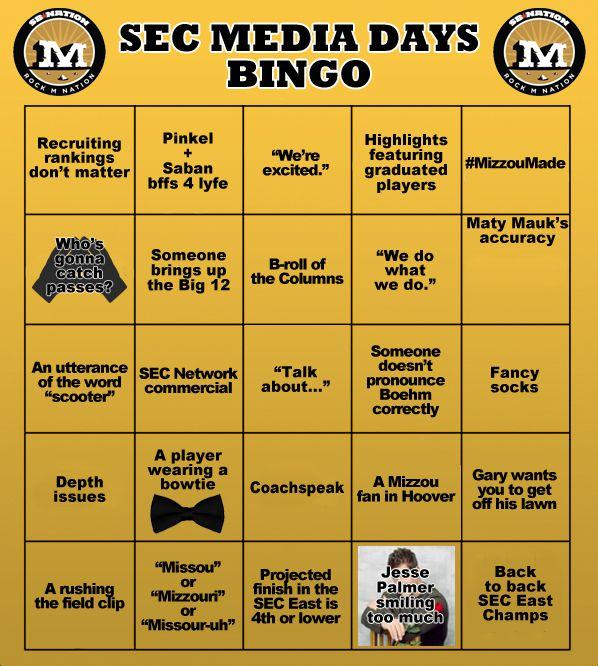 SEC Media Days Bingo 2015