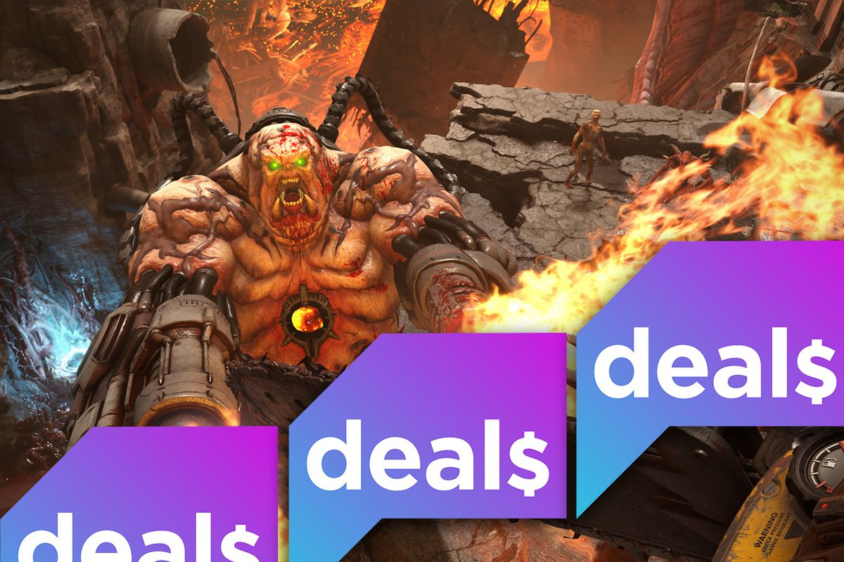 A demon from Doom Eternal overlaid with the Polygon Deals logo