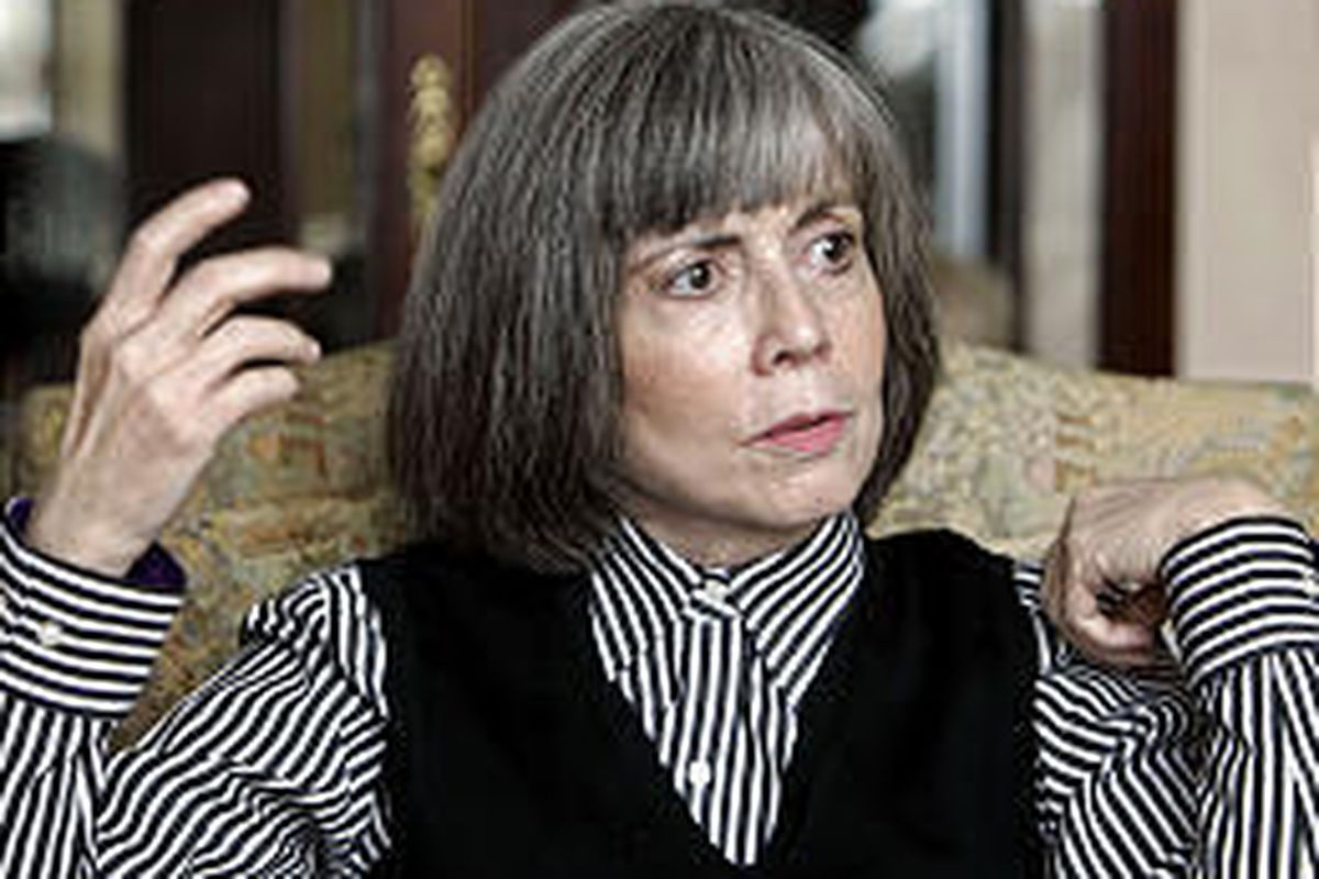 Author Anne Rice talks about her new book at her home in La Jolla, Calif.