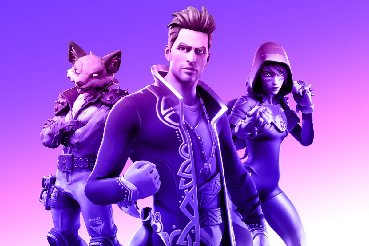 Three avatars from Fortnite against a purple background