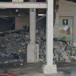10:28 a.m. Demolition around men's room in bleachers -