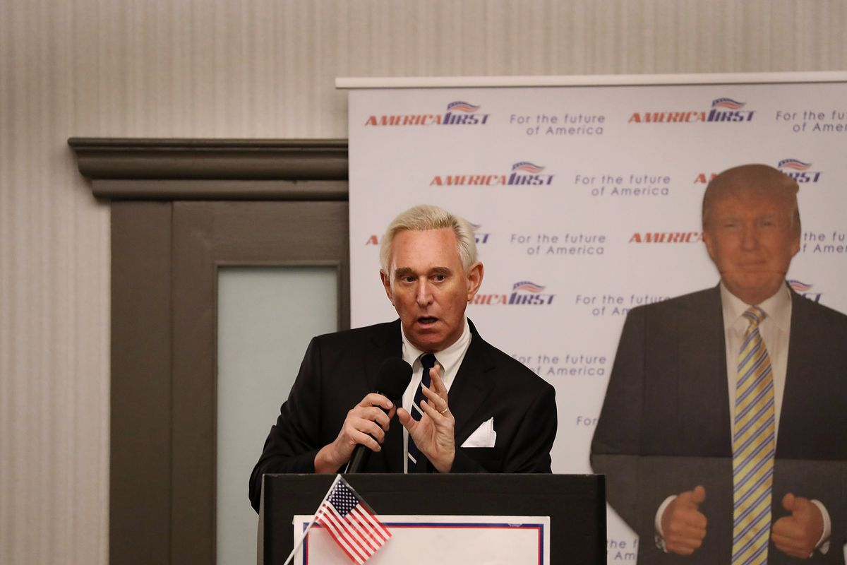 Roger Stone, in March 2017, promoting his book on the 2016 campaign.