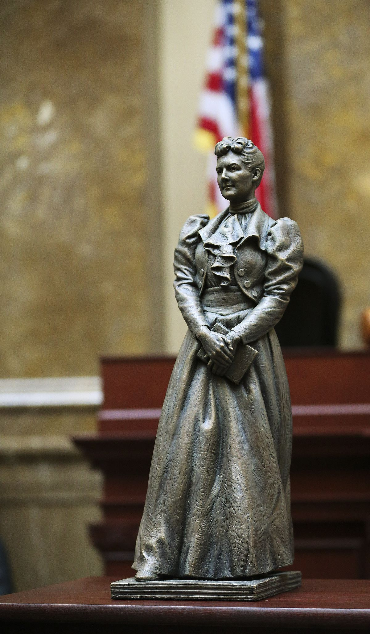 A bronze statue depicting former state Sen. Martha Hughes Cannon is displayed for legislators at the Utah State Capitol in Salt Lake City