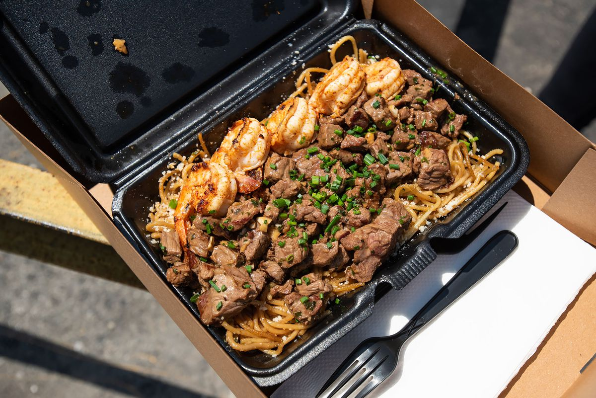 Drunken Noodles from Bleu Kitchen food truck in South LA