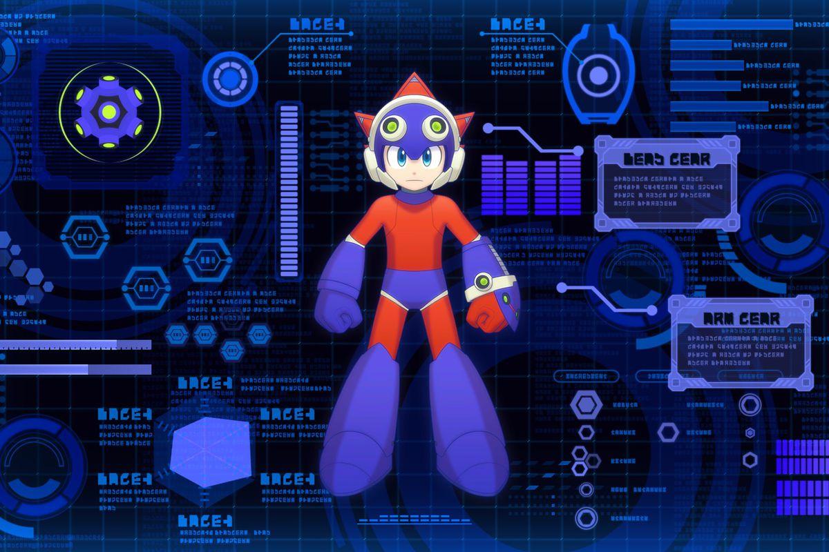 Mega Man 11 art of Mega Man in red and blue suit
