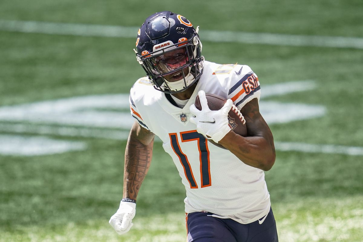 Bears wide receiver Anthony Miller runs after a catch against the Atlanta Falcons during the first half at Mercedes-Benz Stadium