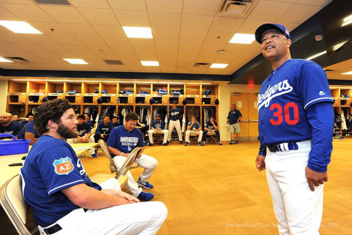 Brooks Brown (left) was released before photo day, so pictures of him in a Dodgers uniform are scarce. But here is is listening to Dave Roberts on one of the first days of camp.