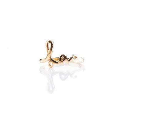 """Gold ring with """"love"""" in script"""