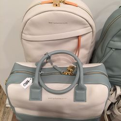 Leather bag ($495) and backpack ($360)