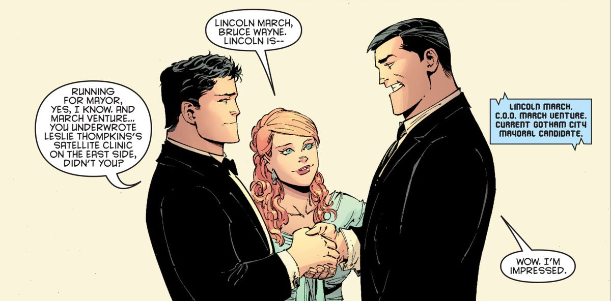 Vicki Vale introduces Bruce Wayne to Lincoln March as they shake hands. March looks like a larger version of Bruce but with slicked-back hair (this was foreshadowing), in Batman #1 (2011).