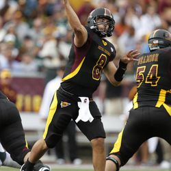 Central Michigan quarterback Ryan Radcliff (8) throws a pass as Nick Beamish (54) blocks during the second quarter of an NCAA college football game against Michigan State, Saturday, Sept. 8, 2012, in Mount Pleasant, Mich.