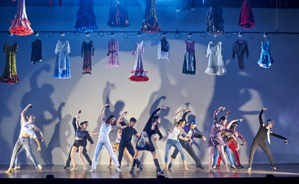 """A scene from Angel Rojas' """"De Falla Out of the Box,"""" one of the works featured on Ensemble Espanol Spanish Dance Theater's program at the Auditorium Theatre. 