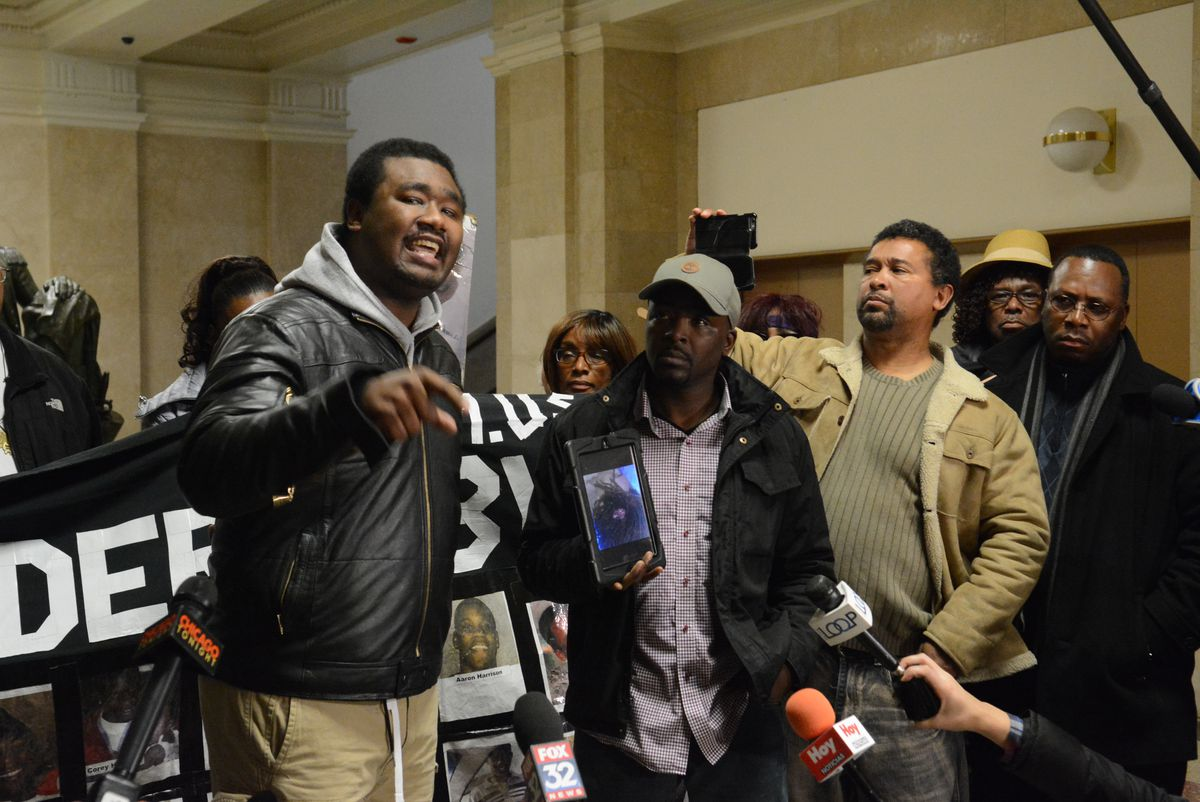 Quovadis Green speaks at a police accountability press conference outside Mayor Rahm Emanuel's office on Wednesday.   Brian Jackson/For the Chicago Sun-Times