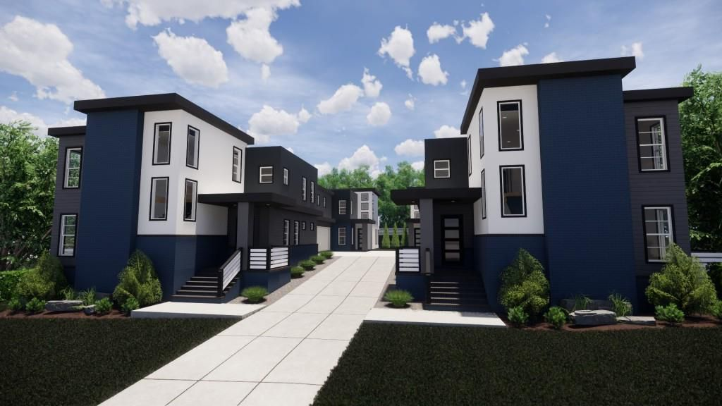 Four townhome units in blue and white with trees around them.