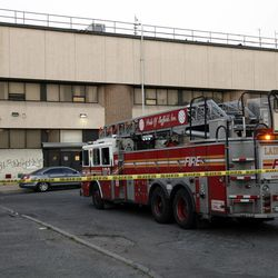 A fire truck is parked outside a warehouse in the Brooklyn borough of New York where 17-year veteran firefighter Lt. Richard Nappi was killed while battling a blaze Monday, April 16, 2012. Nappi, who had responded to the terrorist attack on the World Trade Center on Sept. 11, 2001, was the first city firefighter to die in the line of duty in three years, Mayor Michael Bloomberg told a news conference.