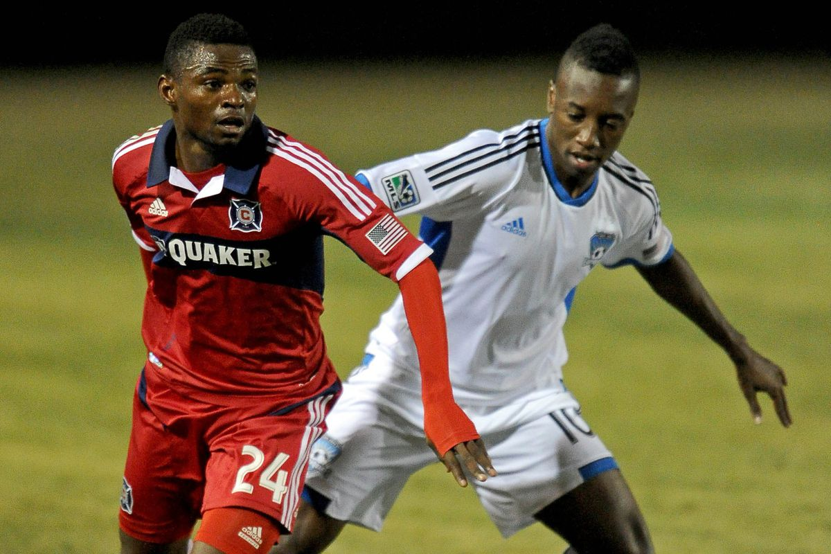Cameroonian winger Yazid Atouba (L) returns to the Fire for 2014.