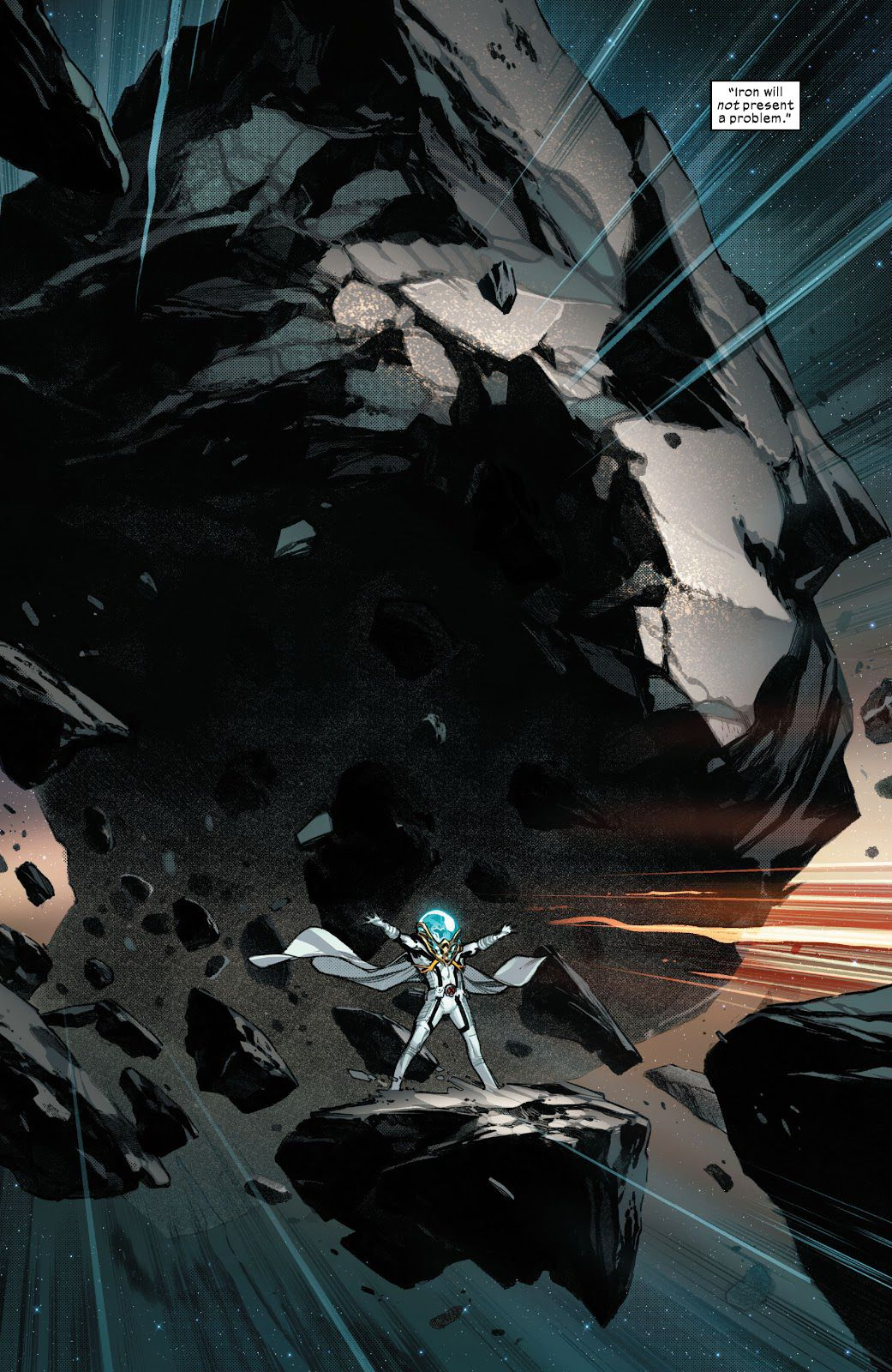 Magneto stands, feet wide, arms outstretched, on an asteroid as he tows a massive herd of iron-filled rocks through space in Planet-Size X-Men #1 (2021).