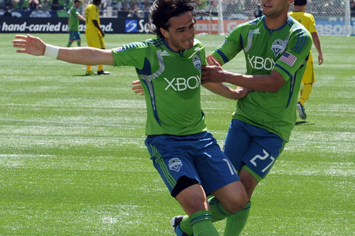 Mauro Rosales was named the 2011 MLS Newcomer of the Year after scoring five goals and registering 13 assists for the Seattle Sounders. (Photo by Steve Dykes/Getty Images)