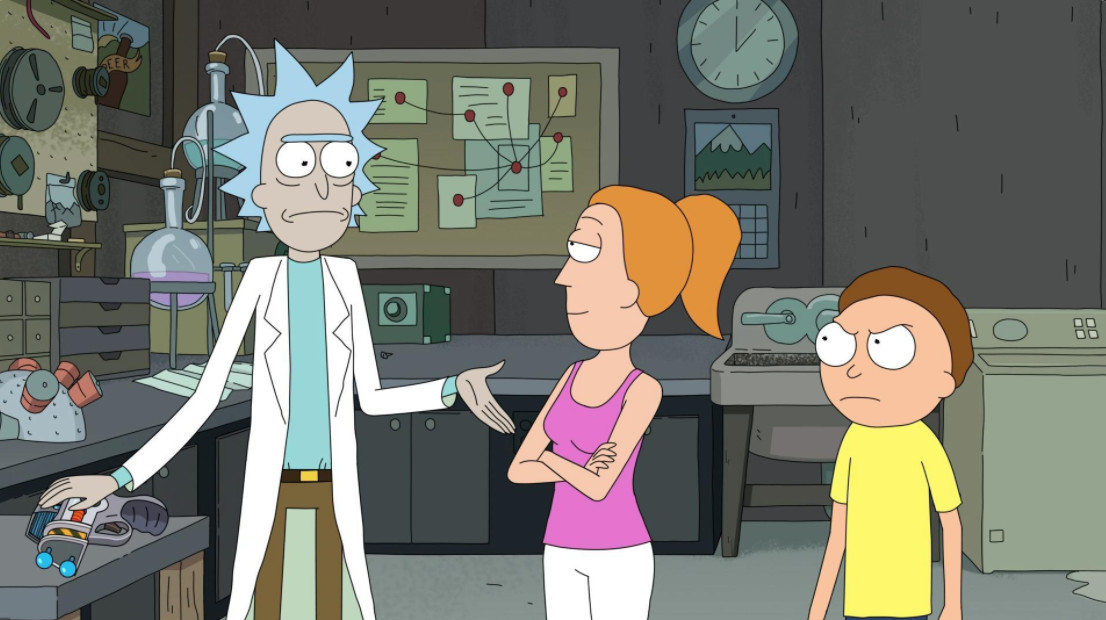 Rick, Beth and Morty standing in Rick's garage.